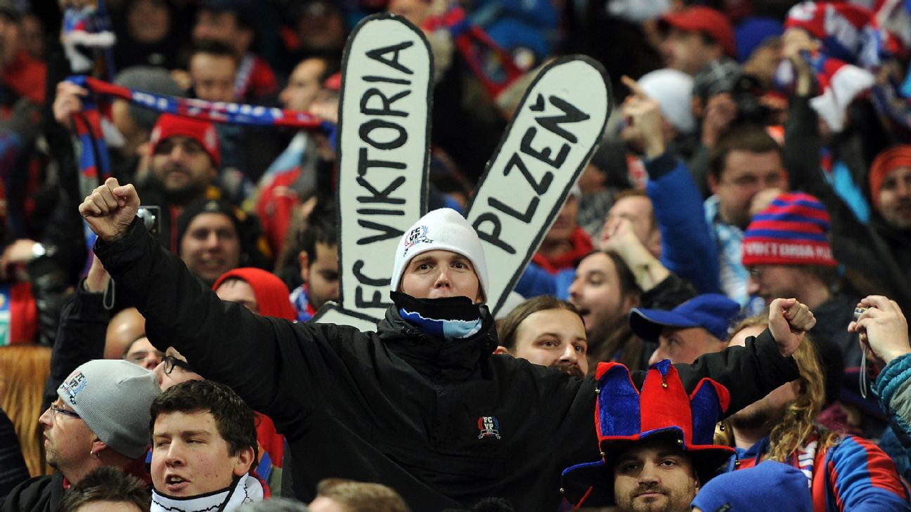 Viktoria Plzen fans celebrate their side's first goal