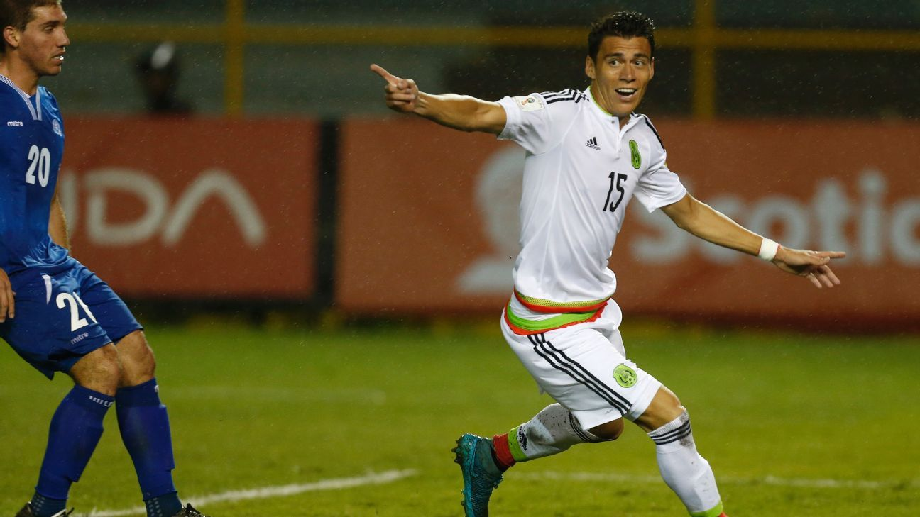Hector Moreno celebrates after scoring a goal for Mexico vs. El Salvador.