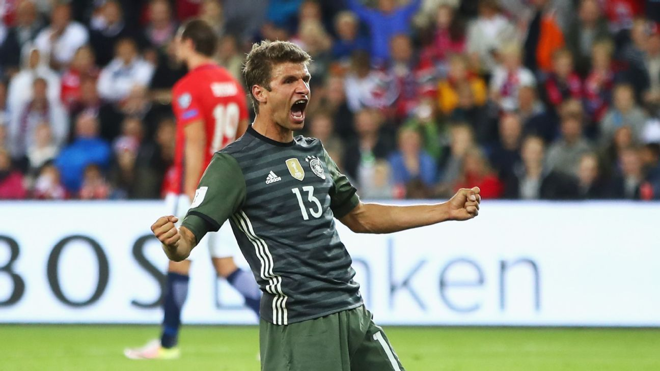 Thomas Muller scored twice and gave an assist in Germany's 3-0 victory over Norway.