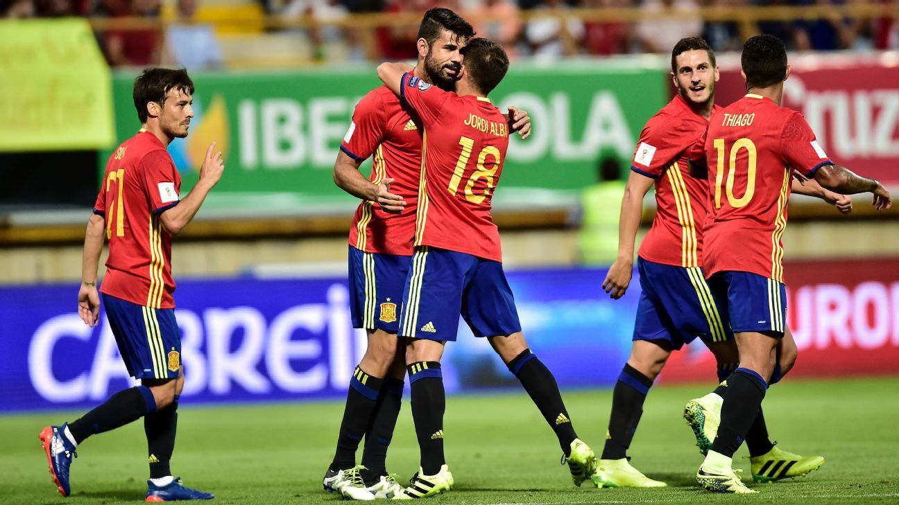 Spain's Diego Costa celebrates one of his two goals against Liechtenstein on Monday.