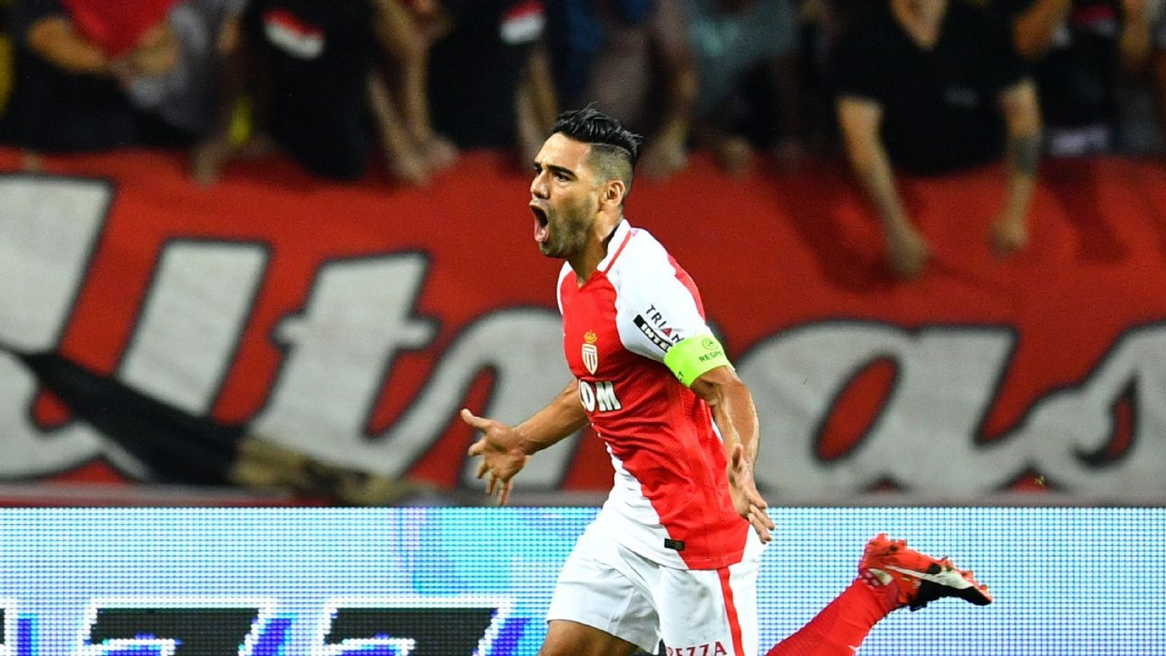 FONTVIEILLE, MONACO - AUGUST 3: Radamel Falcao of Monaco celebrates after scoring a goal during the UEFA Champions League Third qualifying round match between Monaco and Fenerbahce at the II. Louis Stadium in Fontvieille, Monaco on August 3, 2016.