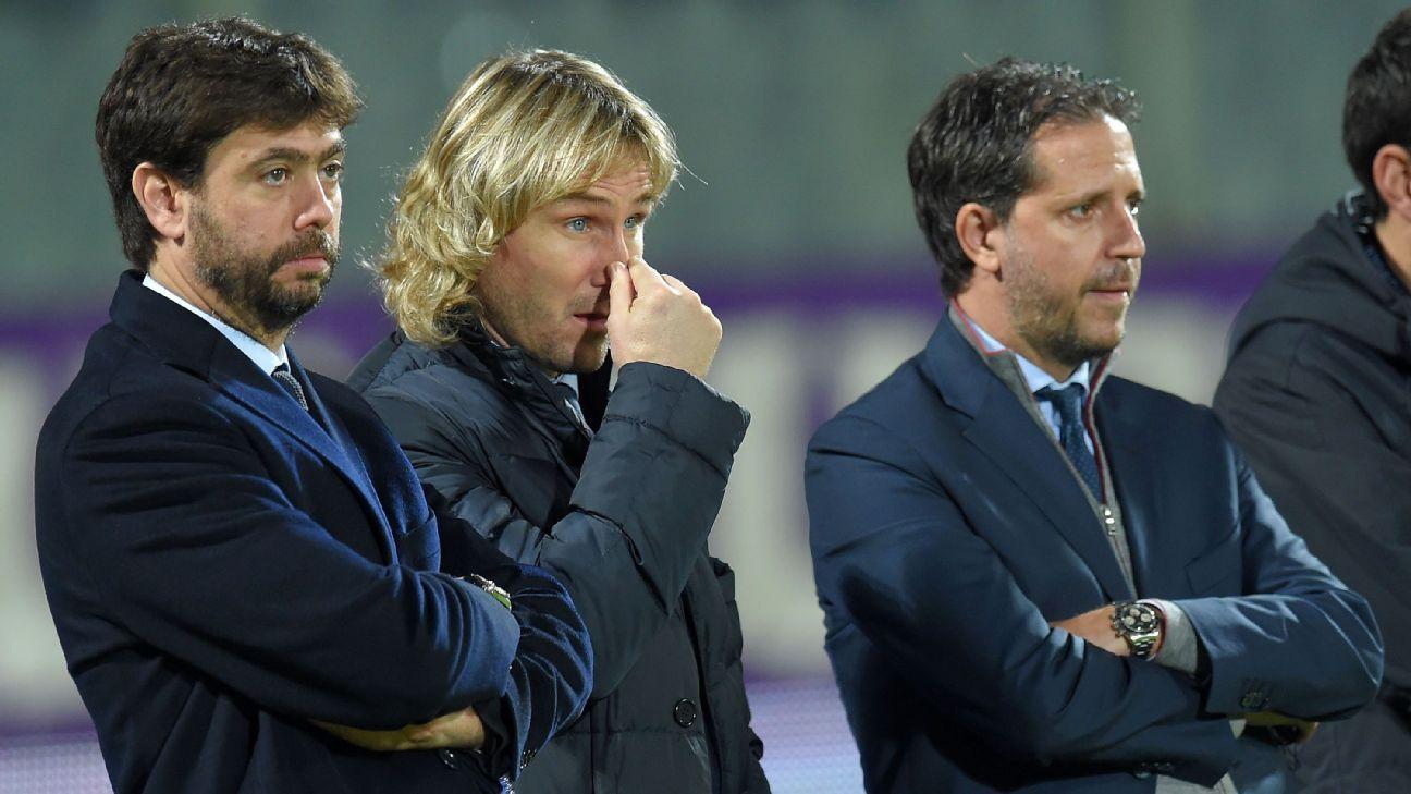 Andrea Agnelli, Pavel Nedved and Fabio Paratici