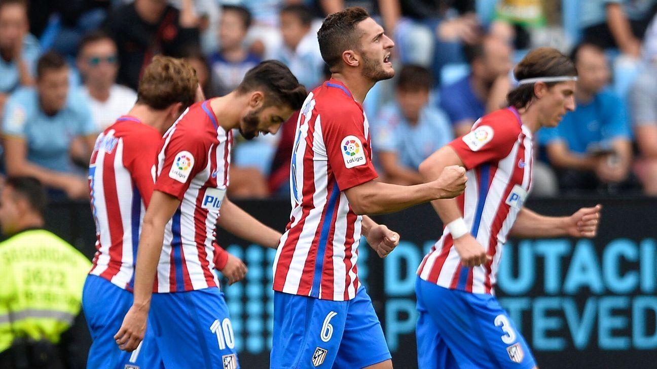 Koke scored Atletico Madrid's opener against Celta Vigo.