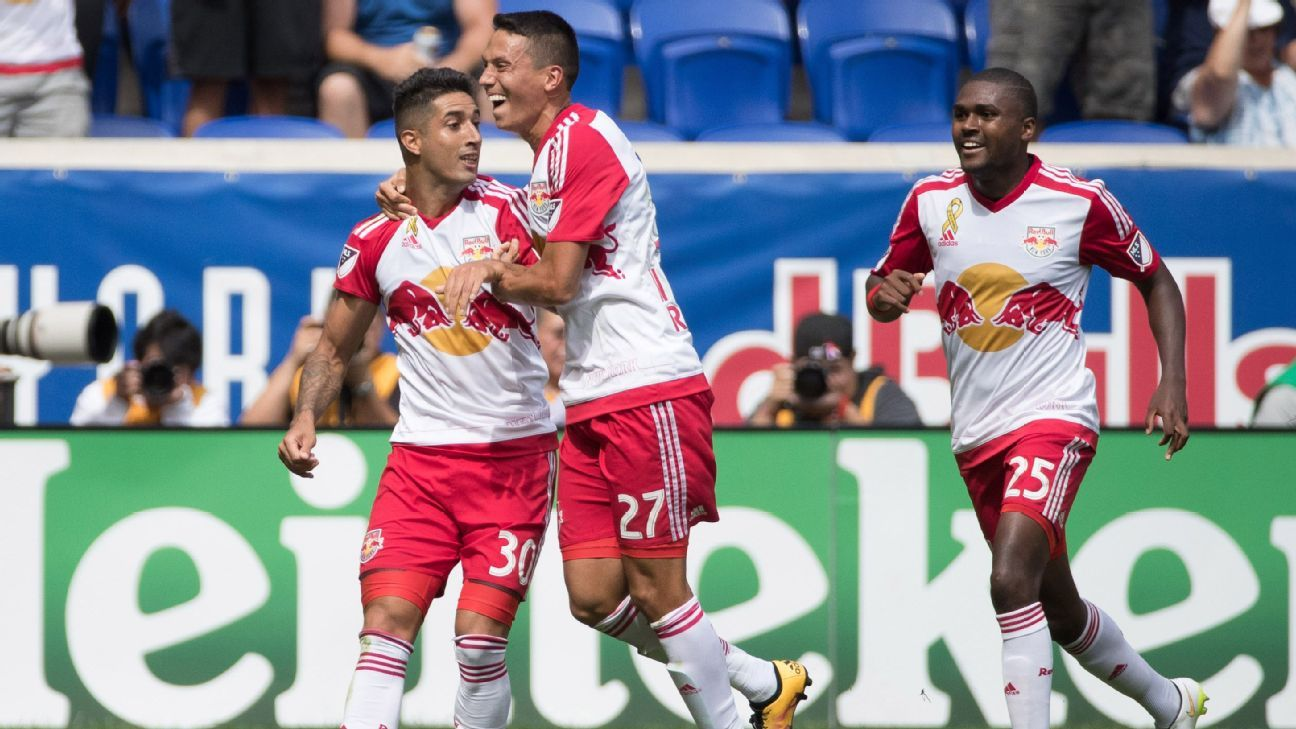 New York Red Bulls midfielder Gonzalo Veron celebrates after scoring against D.C. United.
