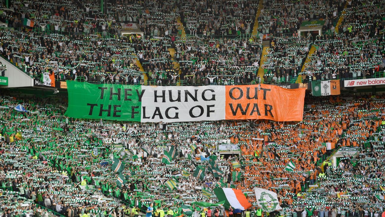 GLASGOW, SCOTLAND - SEPTEMBER 10:  Celtic fans hold up a banner during the Ladbrokes Scottish Premier league match between Celtic and Rangers at Celtic Park Stadium on September 10, 2016 in Glasgow, Scotland.