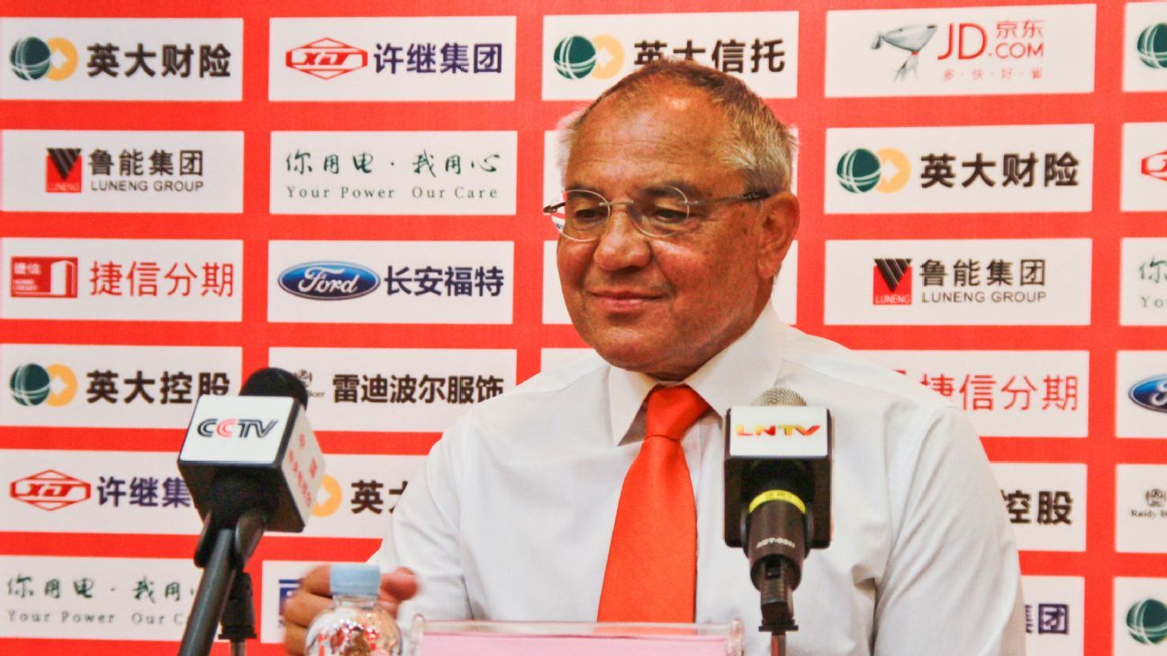 JINAN, CHINA - JUNE 14: Felix Magath is appointed as new manager of Shandong Luneng Taishan FC at a press conference on June 14, 2016 in Jinan, Shandong Province of China.