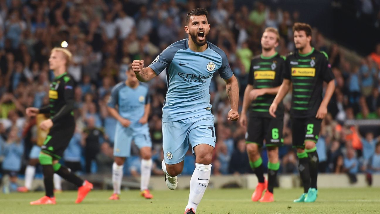 Sergio Aguero celebrates scoring his second goal.