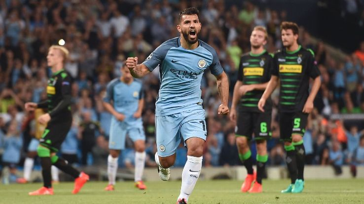 Sergio Aguero celebrates scoring his second goal.