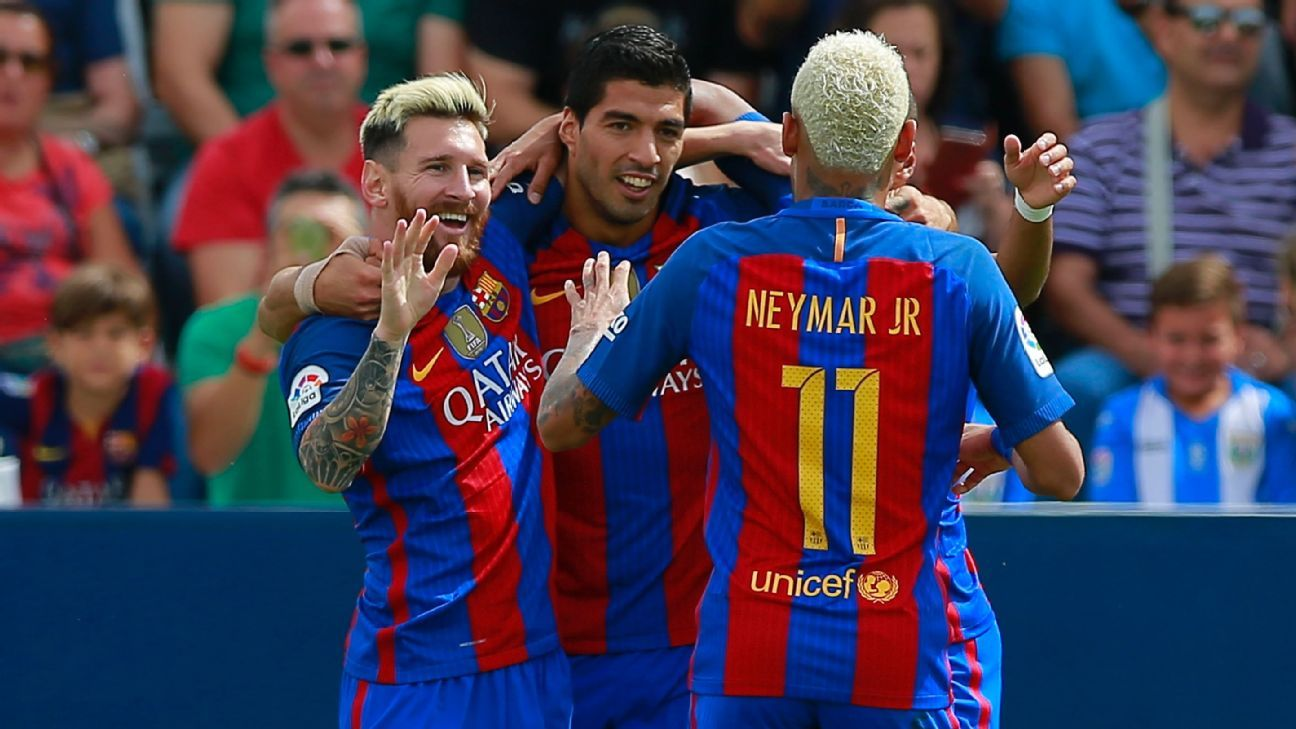 Neymar, Luis Suarez and Lionel Messi were all on target for Barcelona against Leganes.
