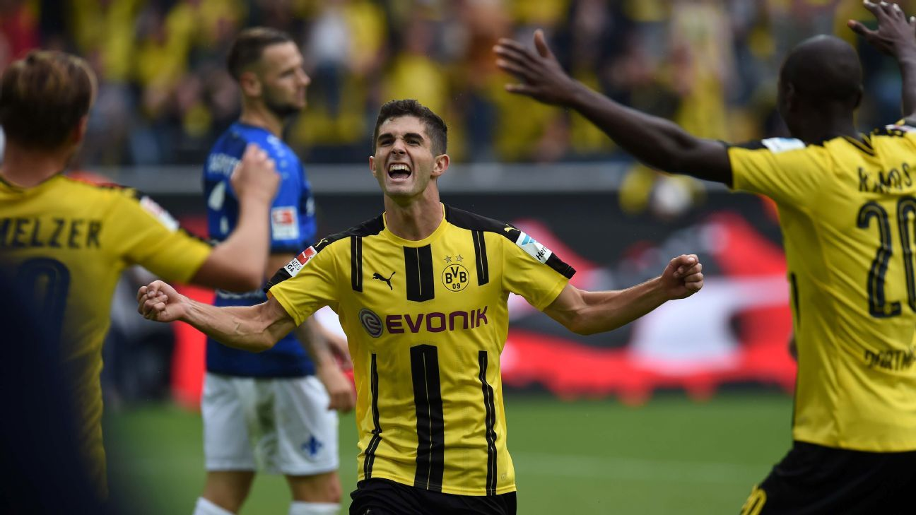 Christian Pulisic scored his first goal of the season as Dortmund won.