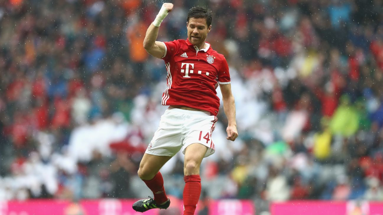 Xabi Alonso celebrates giving Bayern Munich the lead.