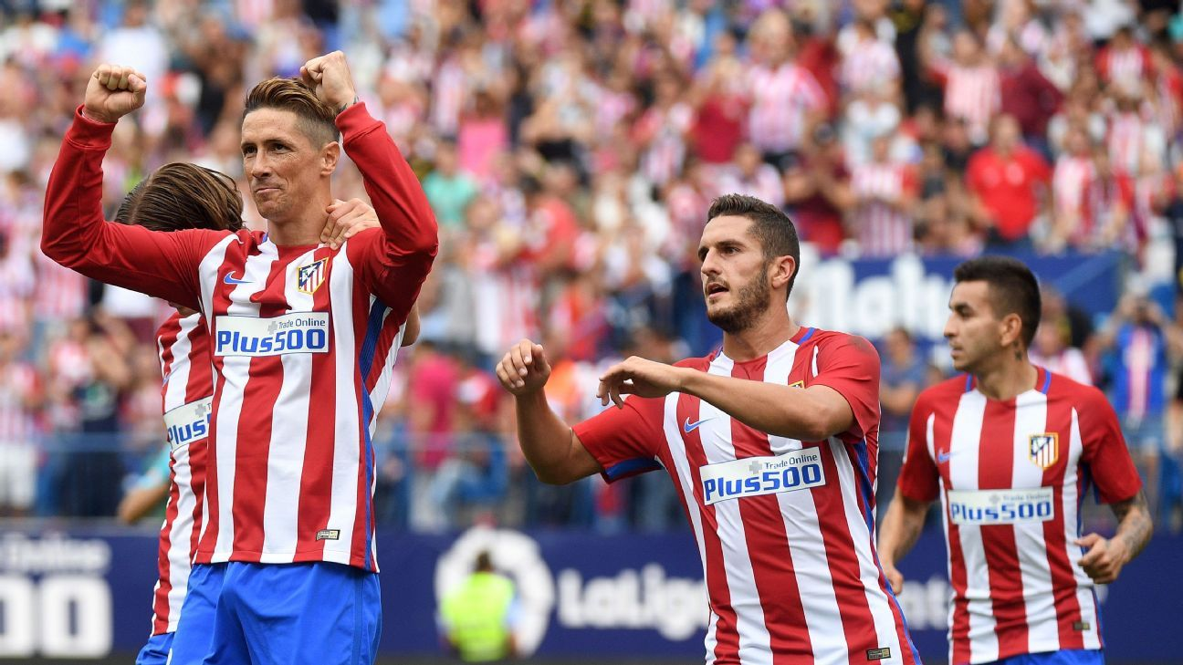 Fernando Torres scored twice as Atletico Madrid won comfortably.