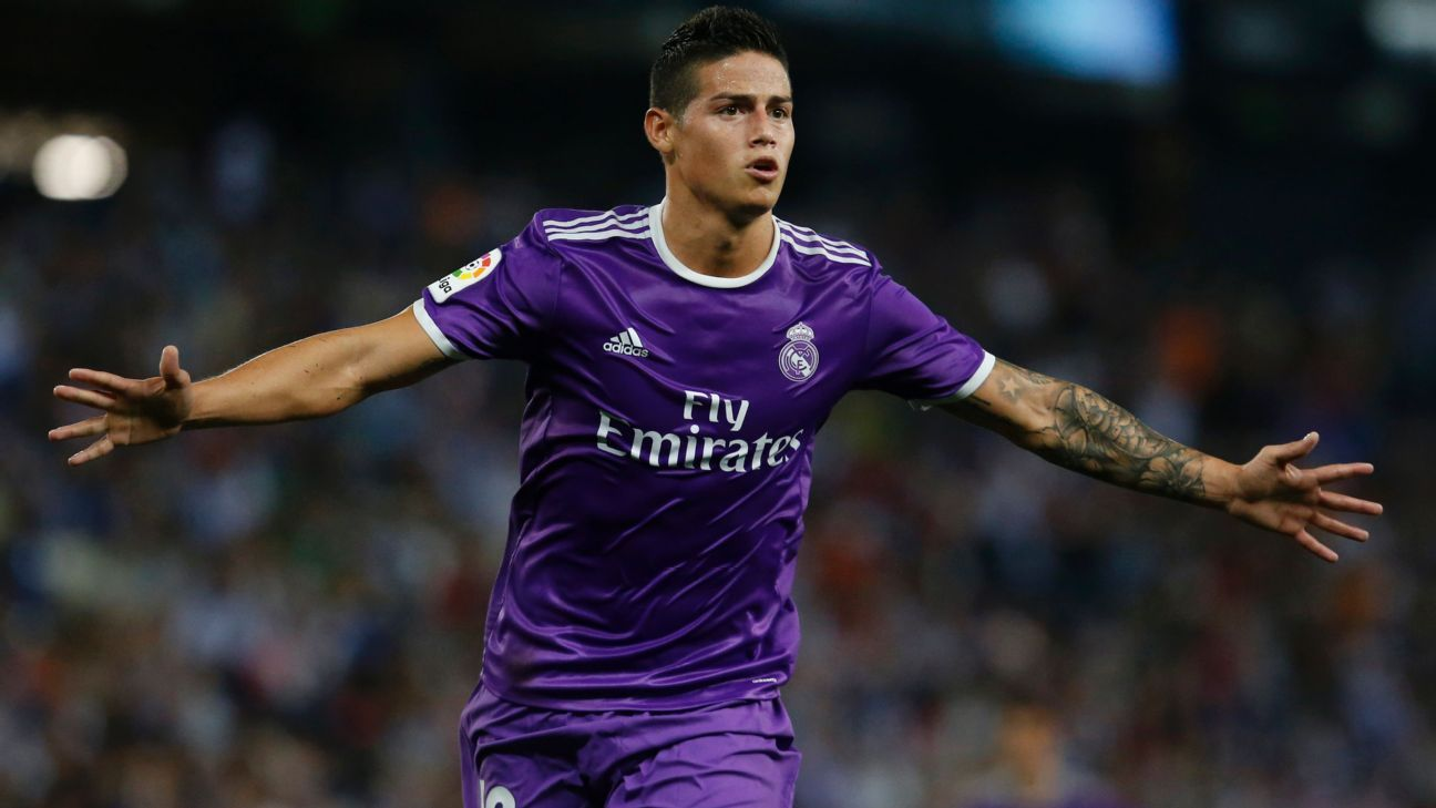 James Rodriguez celebrates after scoring a goal for Real Madrid vs. Espanyol.
