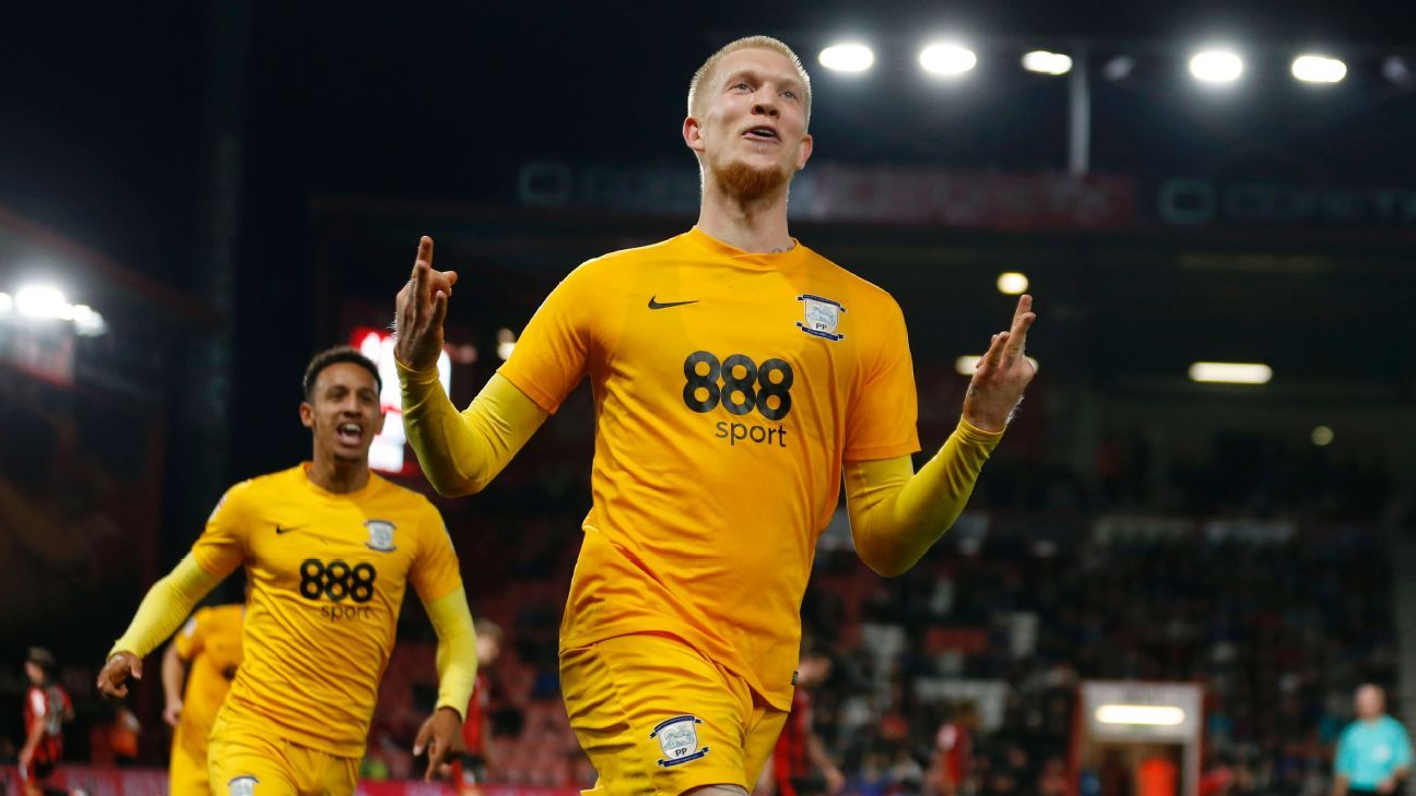 Simon Makienok's hat trick gave Preston a surprise win at Bournemouth.