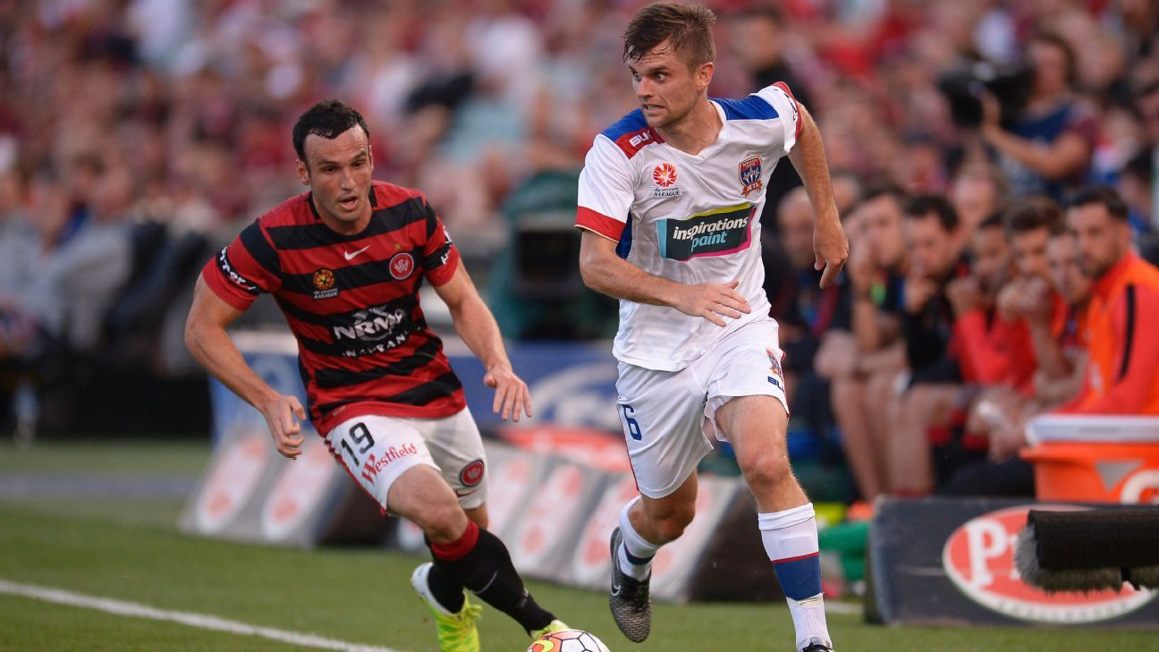 Bengaluru midfielder Cameron Watson in A-League vs. Mark Bridge in Dec. 2015