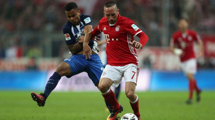 Franck Ribery Bayern Muenchen fights for the ball with Allan Souza of Hertha Berlin.