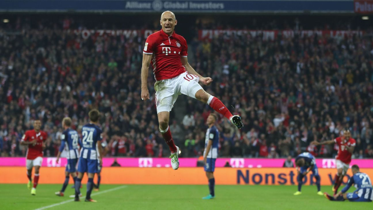 Arjen Robben celebrates after scoring a goal in Bayern Munich's win against Hertha Berlin.