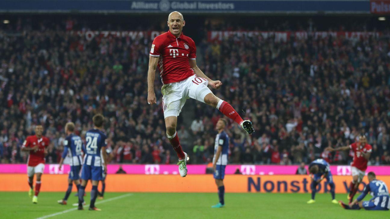 Arjen Robben celebrates after scoring a goal in Bayern Munich's win against Hertha Berlin.