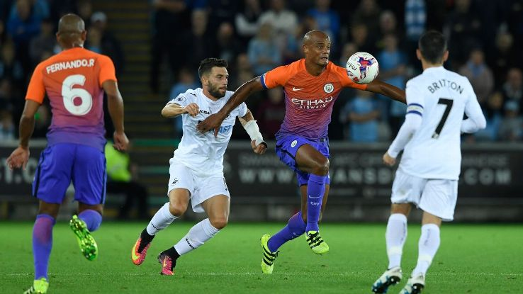 Vincent Kompany returned for Man City but walked off before the final whistle.