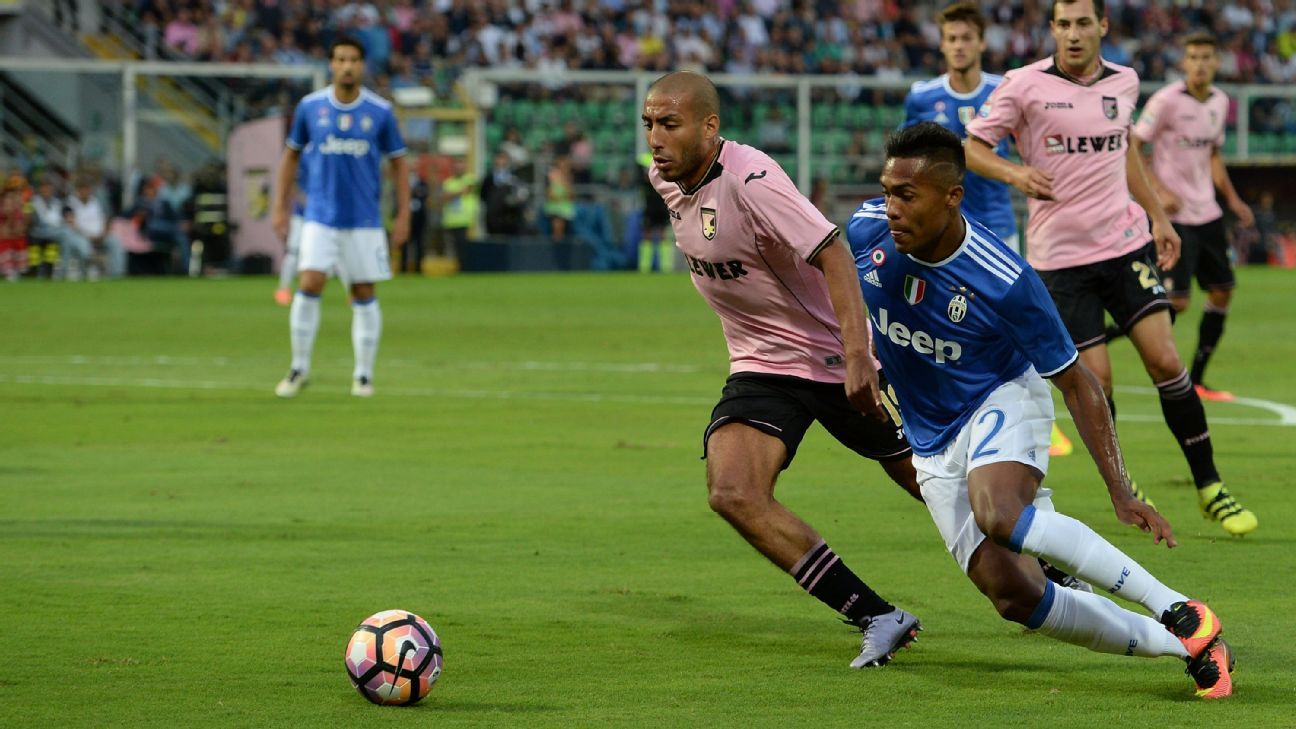 Lobo Silva and Alex Sandro battle during Juventus' 1-0 victory over Palermo on Saturday.