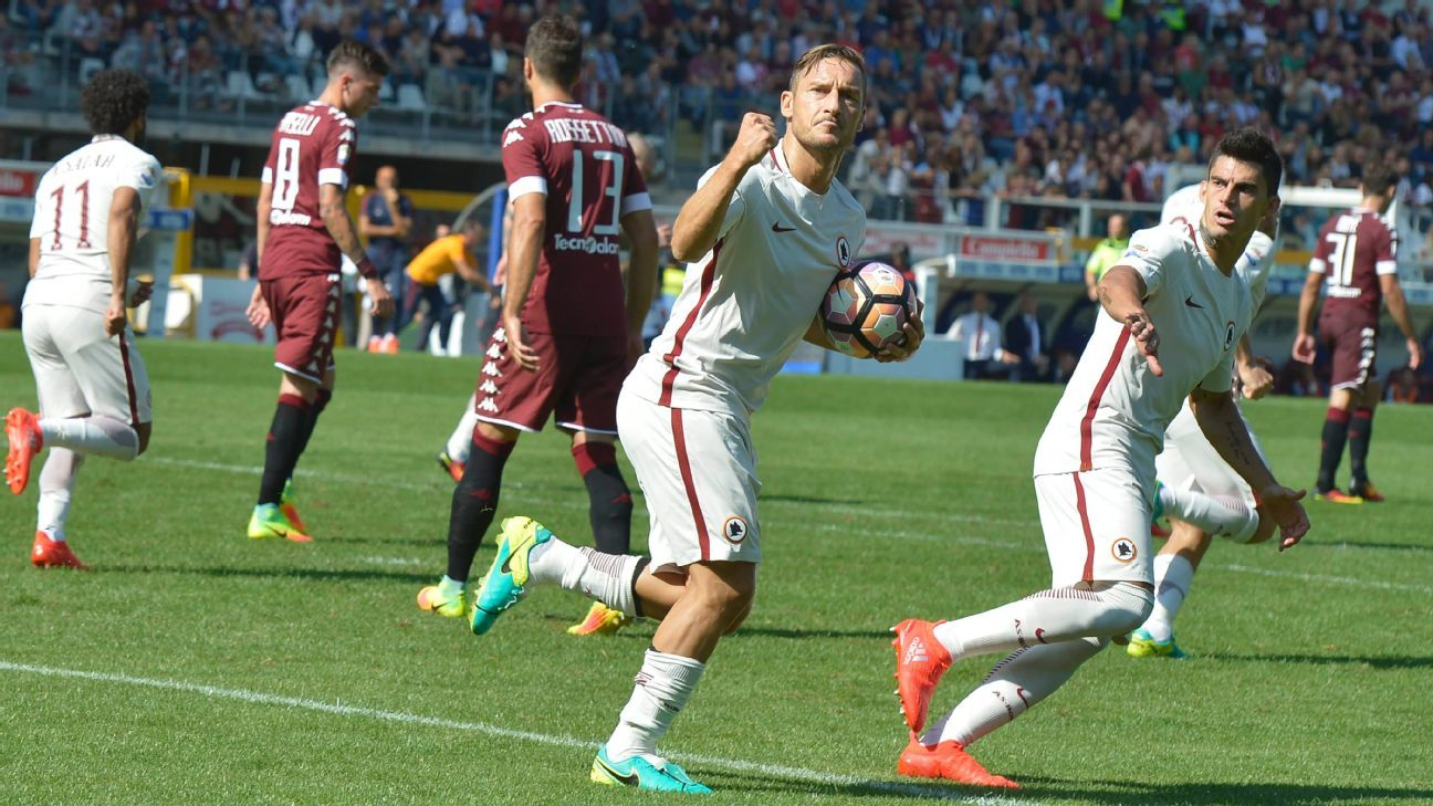 Francesco Totti netted his 250th Serie A goal for Roma