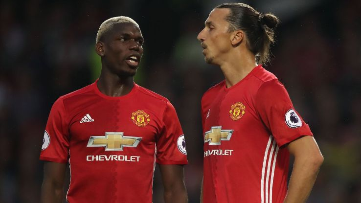 Paul Pogba and Zlatan Ibrahimovic won three trophies together at Manchester United between 2016-17.