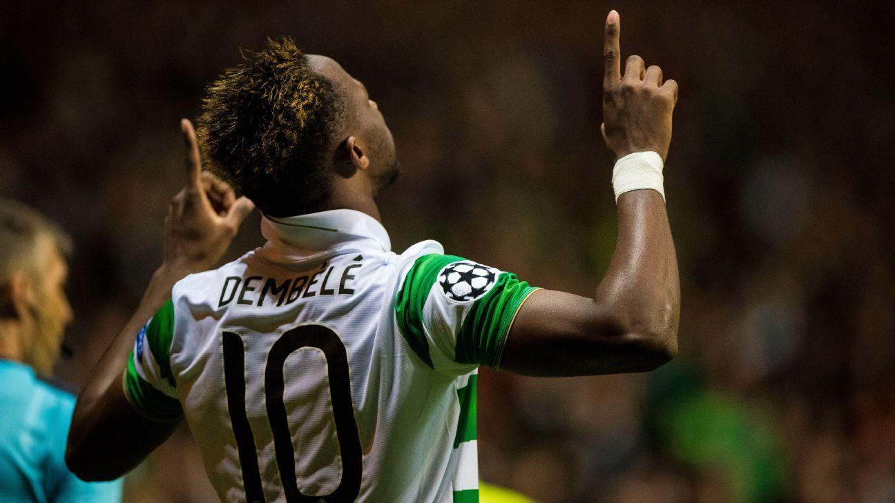 Celtic star man Moussa Dembele's comedy close range finish
