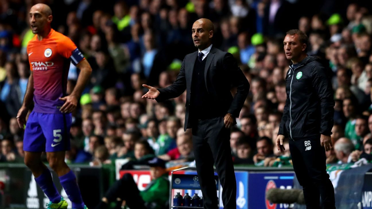 Guardiola gestures vs Celtic 160928