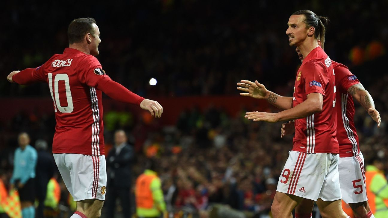 Wayne Rooney and Zlatan Ibrahimovic celebrate the goal against Zorya.