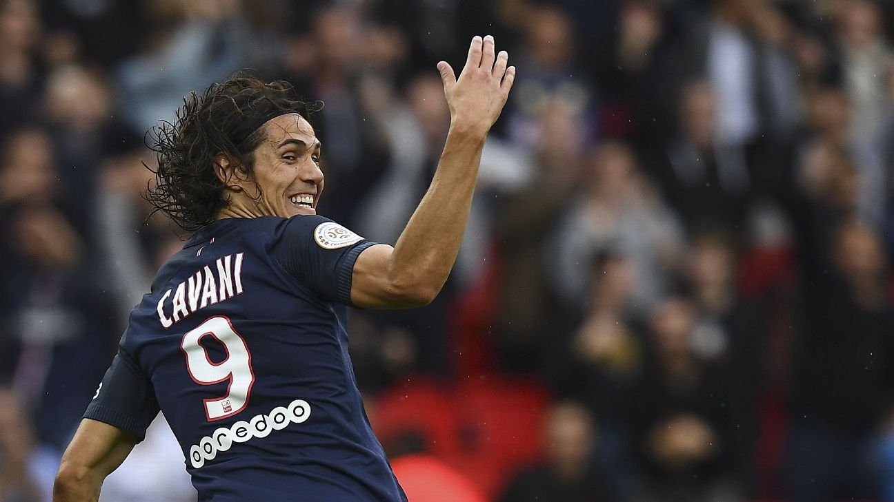 Edinson Cavani netted twice as PSG clinched victory on Saturday.