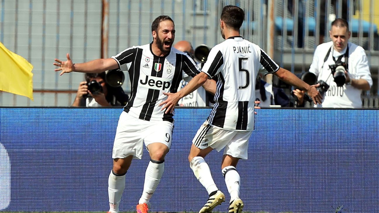 Gonzalo Higuain hit the back of the net twice on Sunday for Juventus.
