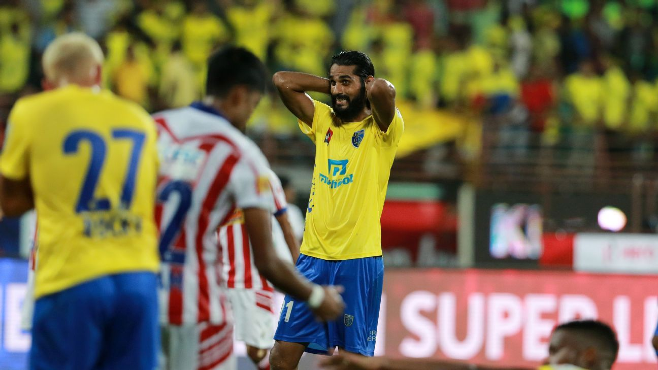 Kerala Blasters' Sandesh Jhingan reacts during the 1-0 loss to Atletico de Kolkata.