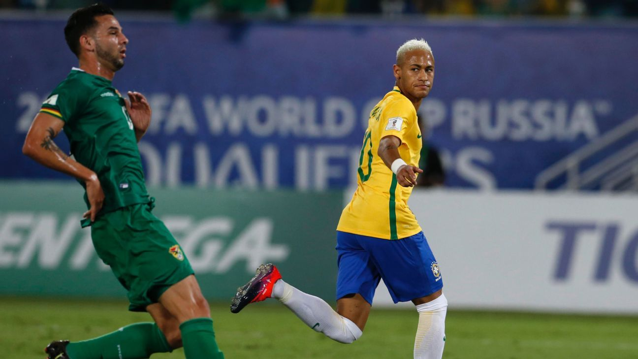 Neymar celebrates after scoring a goal in a runaway victory against Bolivia.