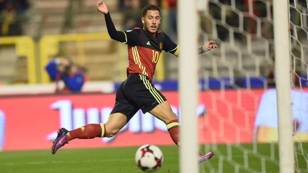 Eden Hazard scored Belgium's second goal in a runaway win against Bosnia and Herzegovina.