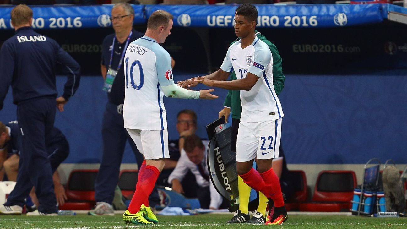 Wayne Rooney passed the England torch to Marcus Rashford at Euro 2016.