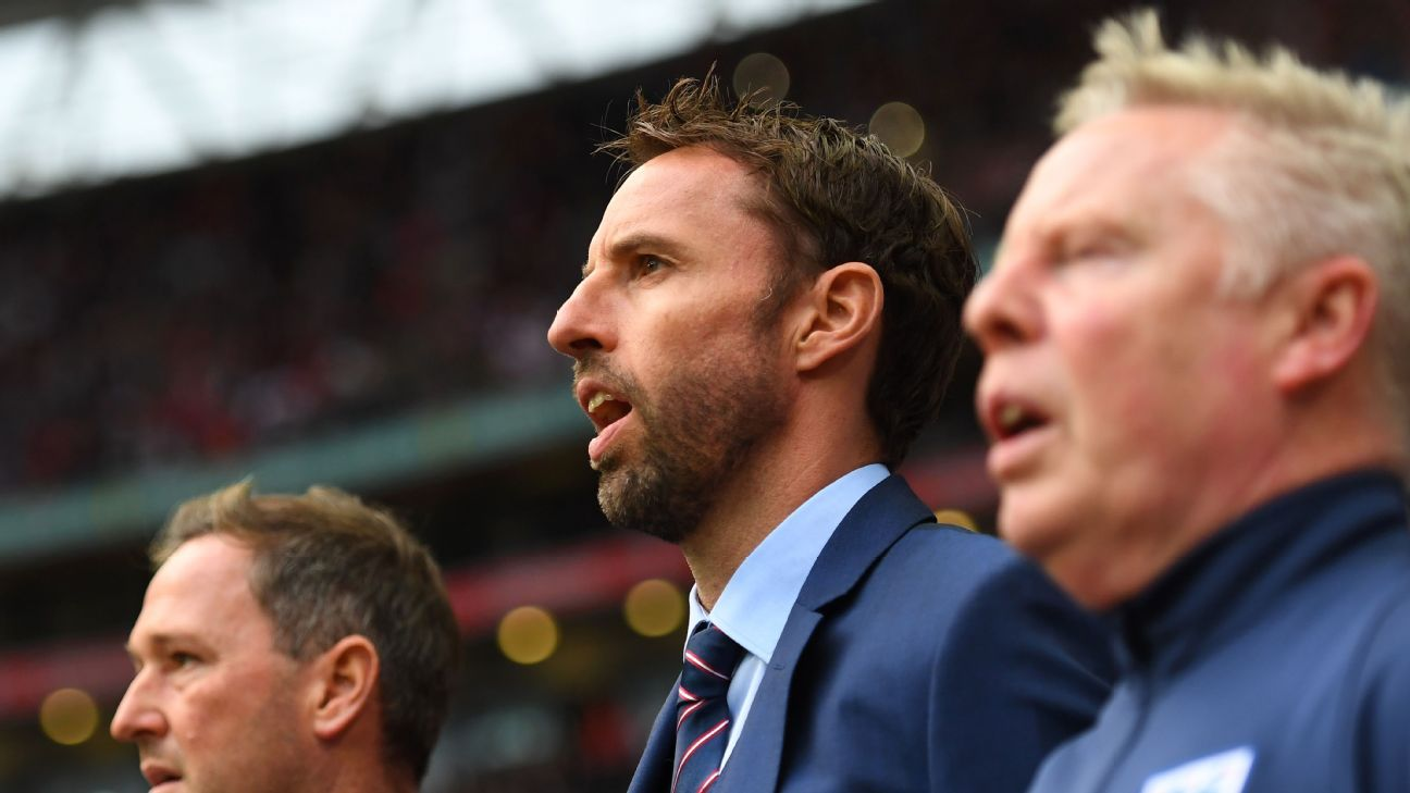 England interim manager Gareth Southgate sings the national anthem ahead of the FIFA 2018 World Cup Qualifier Group F match between England and Malta at Wembley Stadium on October 8, 2016 in London, England.