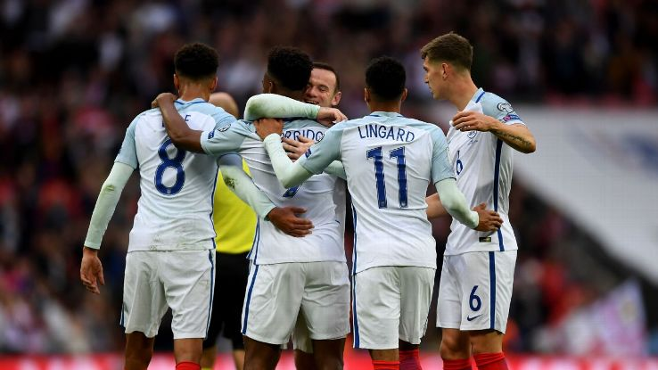 Daniel Sturridge celebrates after scoring for England against Malta at Wembley.