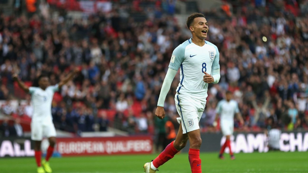 Dele Alli of England celebrates scoring his sides second goal during the FIFA 2018 World Cup Qualifier Group F match between England and Malta at Wembley Stadium on October 8, 2016 in London, England.