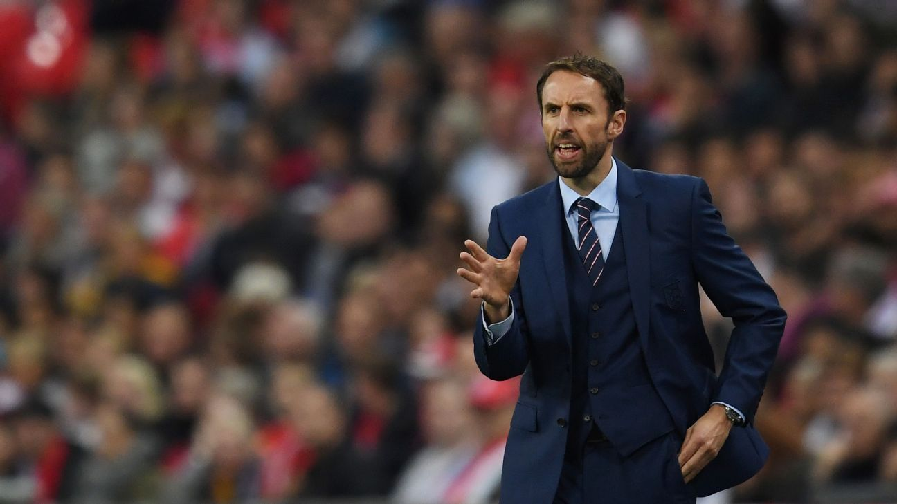 Gareth Southgate, Interim Manager of England gives instructions during the FIFA 2018 World Cup Qualifier Group F match between England and Malta at Wembley Stadium on October 8, 2016 in London, England.