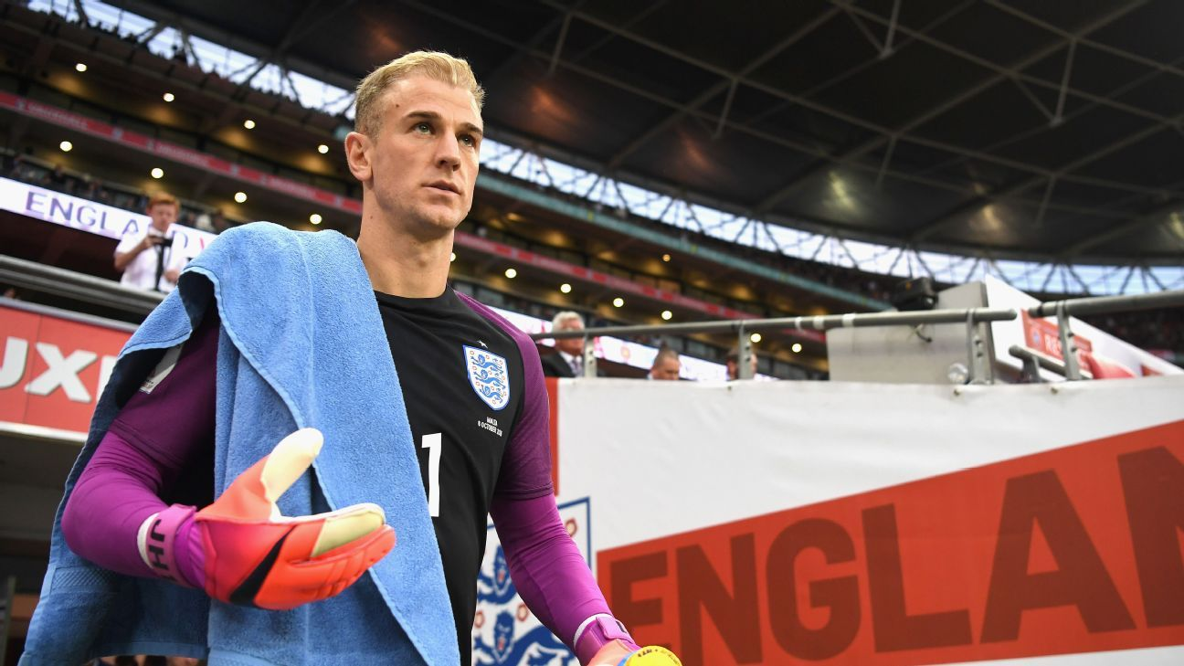 Joe Hart of England makes his way out onto the pitch for the second half during the FIFA 2018 World Cup Qualifier Group F match between England and Malta at Wembley Stadium on October 8, 2016 in London, England.