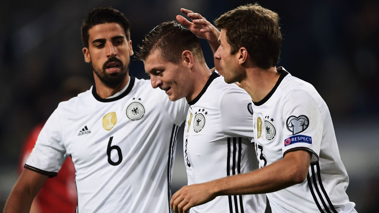 Sami Khedira, Toni Kroos and Thomas Muller