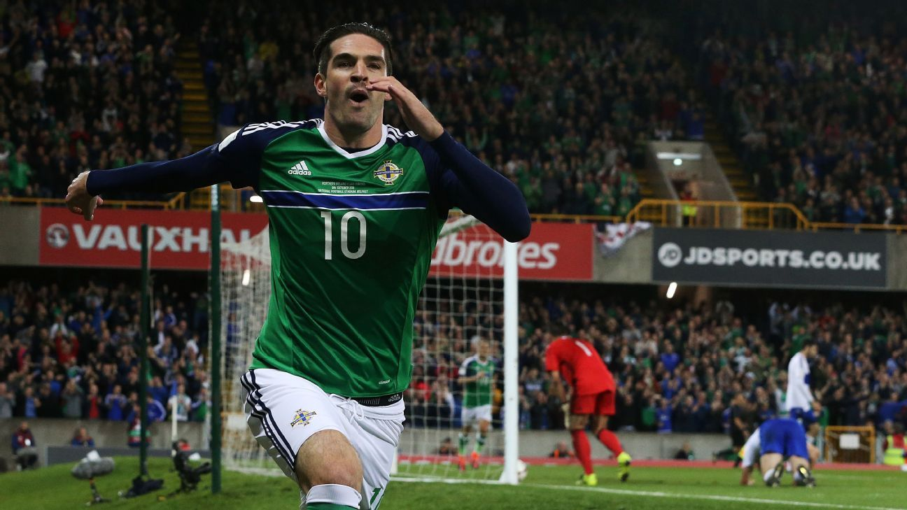 Kyle Lafferty's two goals guided Northern Ireland to victory.