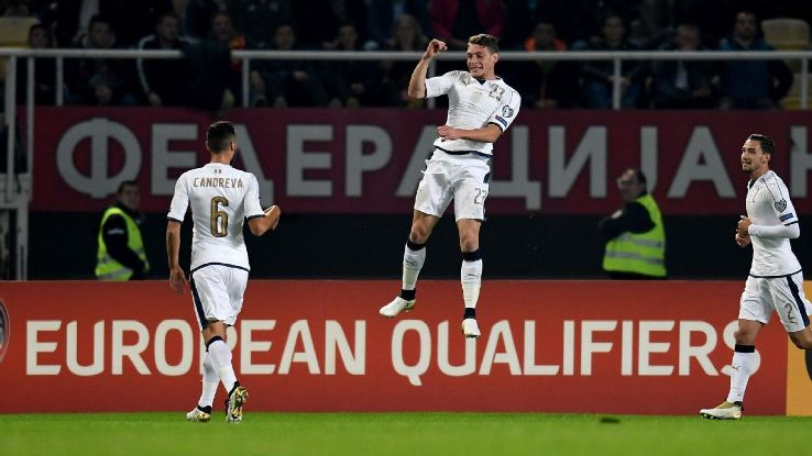 Andrea Belotti celebrates after scoring the opener for Italy against Macedonia.