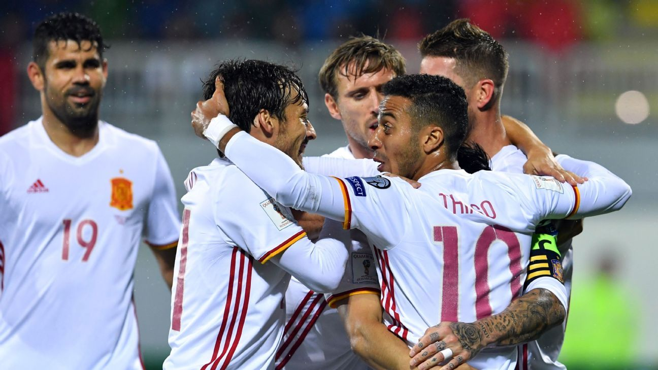 Spain celebrates after scoring their second goal in a 2-0 win against Albania.