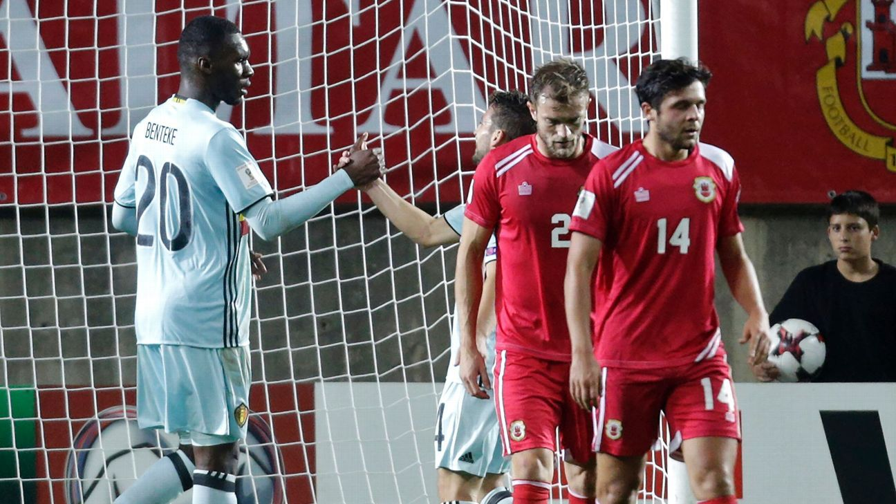 Christian Benteke was the star in Belgium's 6-0 defeat of Gibraltar in October 2016
