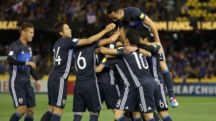 Japan celebrate first goal vs. Australia