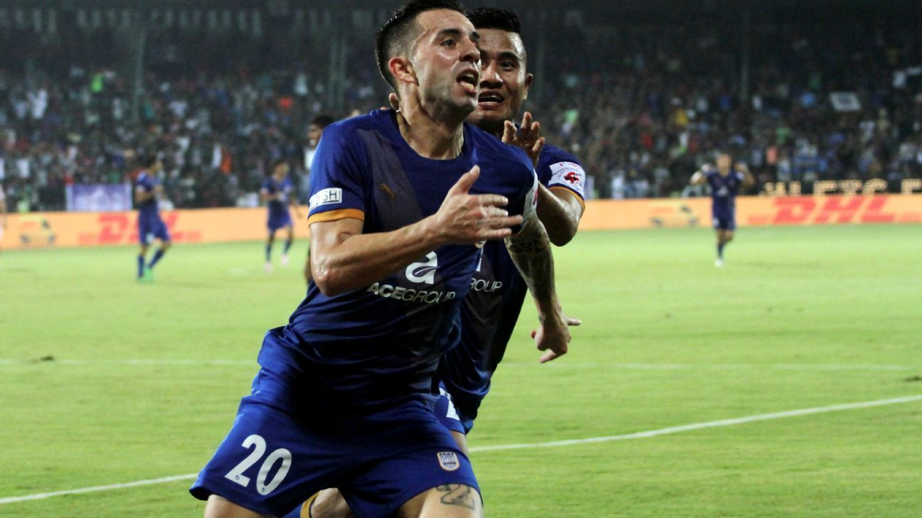 Matias Defederico of Mumbai City FC celebrates a goal against Atletico de Kolkata at the Mumbai Football Arena in Mumbai.