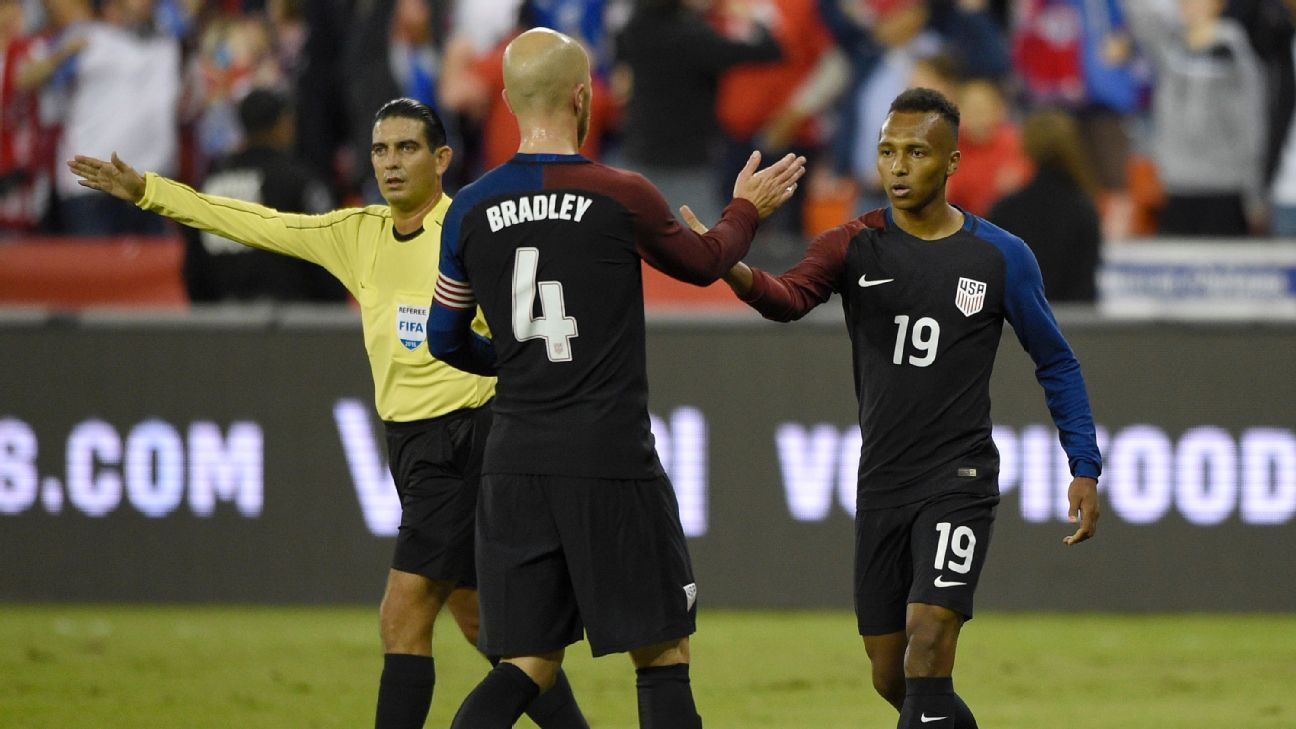 Michael Bradley and Julian Green celebrate after the U.S. opened the scoring against New Zealand.