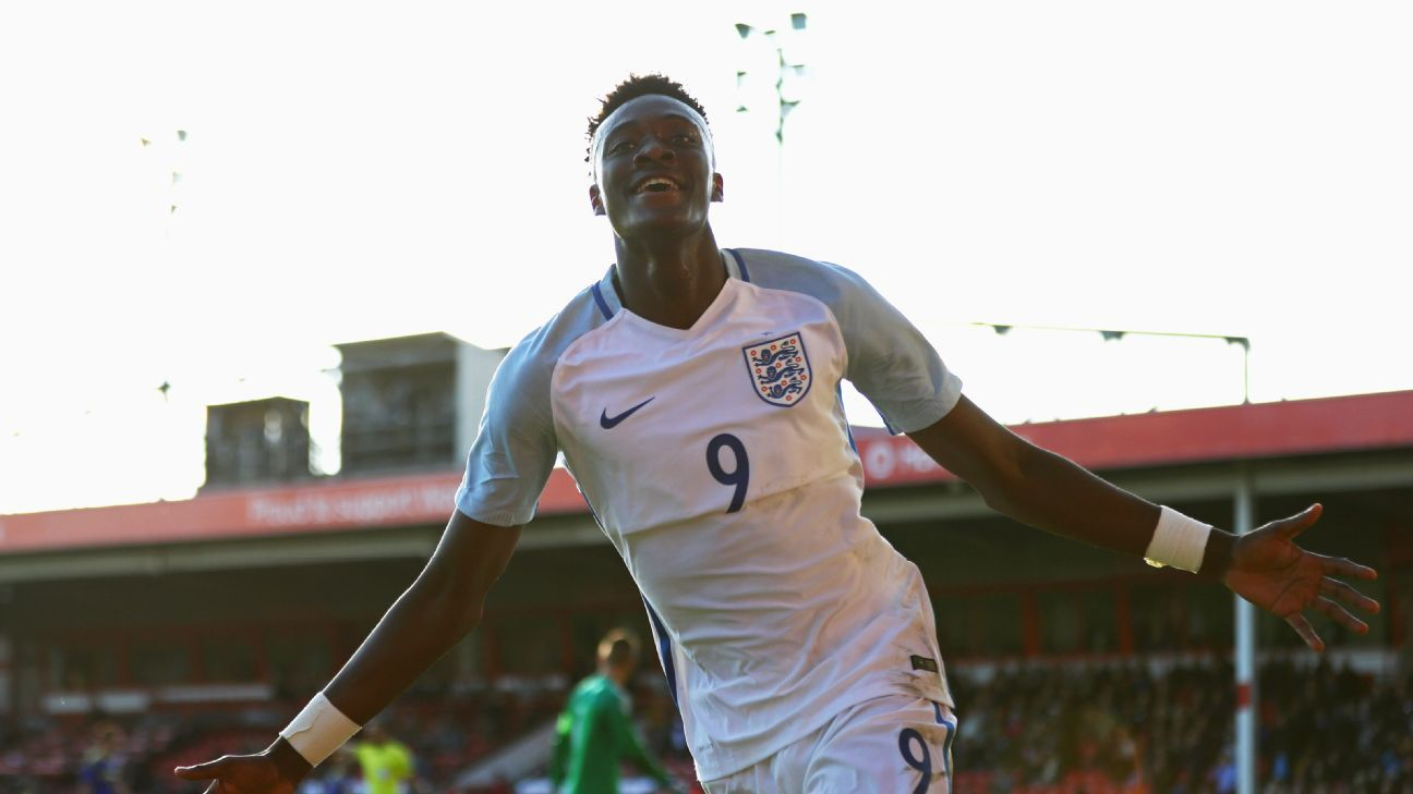 Tammy Abraham of England U21 celebrates as he scores their fifth goal during the UEFA European U21 Championship Group 9 qualifying match between England and Bosnia and Herzegovina at Banks' Stadium on October 11, 2016 in Walsall, England.