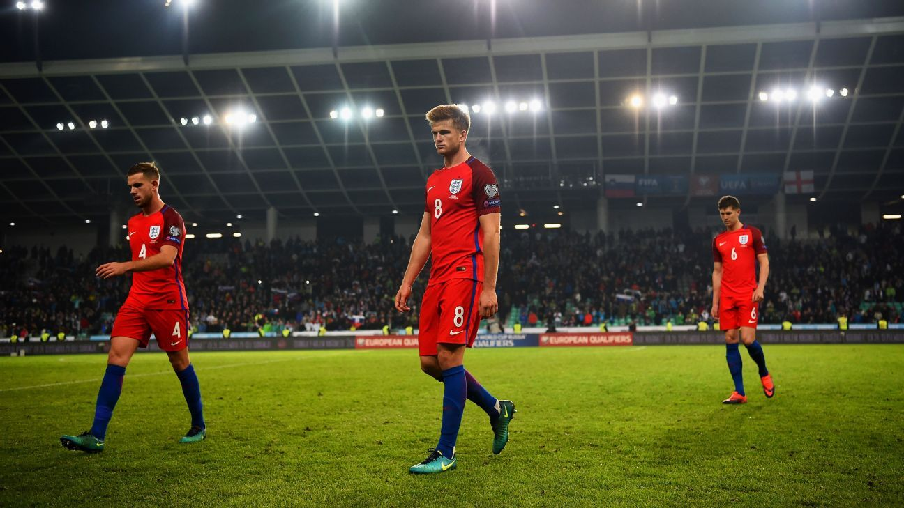 Jordan Henderson, Eric Dier and John Stones of England leave the pitch after the FIFA 2018 World Cup Qualifier Group F match between Slovenia and England at Stadion Stozice on October 11, 2016 in Ljubljana, Slovenia.